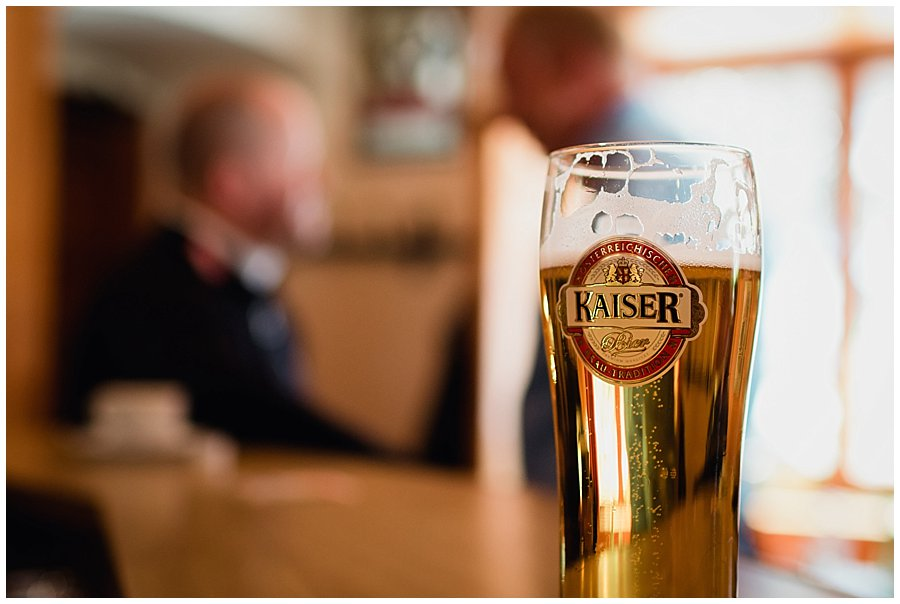 A pint of Austrian larger Kaiser on a bar