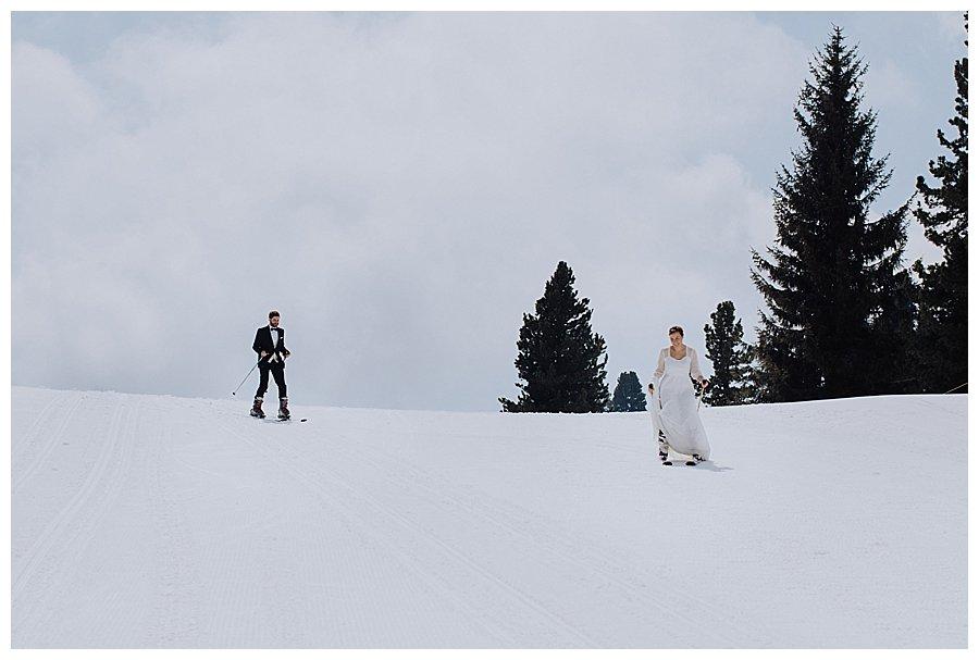 Bride & Groom on Skis