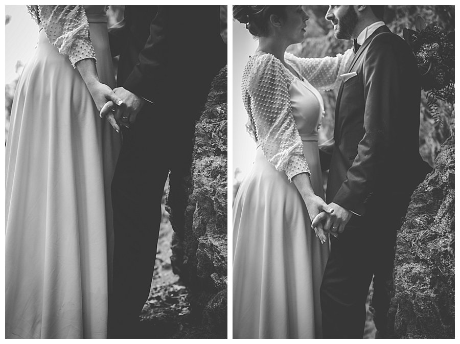 Black and white images of the bride leaning against the groom face to face