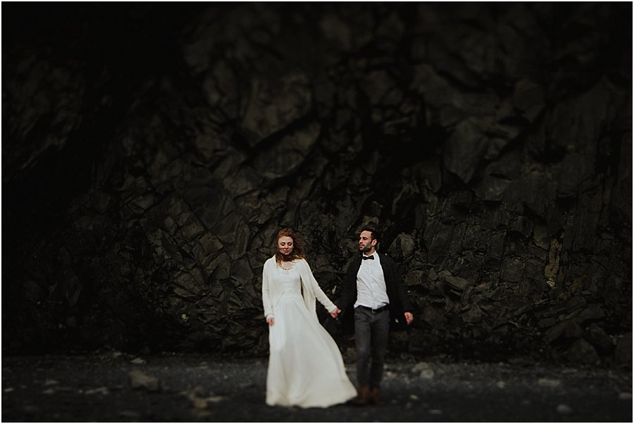 Iceland Black Beach bride and groom in cave