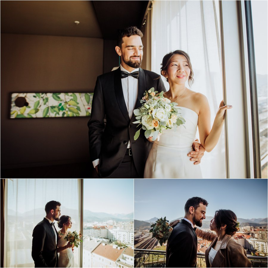 Kelly and Arik share an intimate first look at the Adlers hotel in Innsbruck by Wild Connections Photography