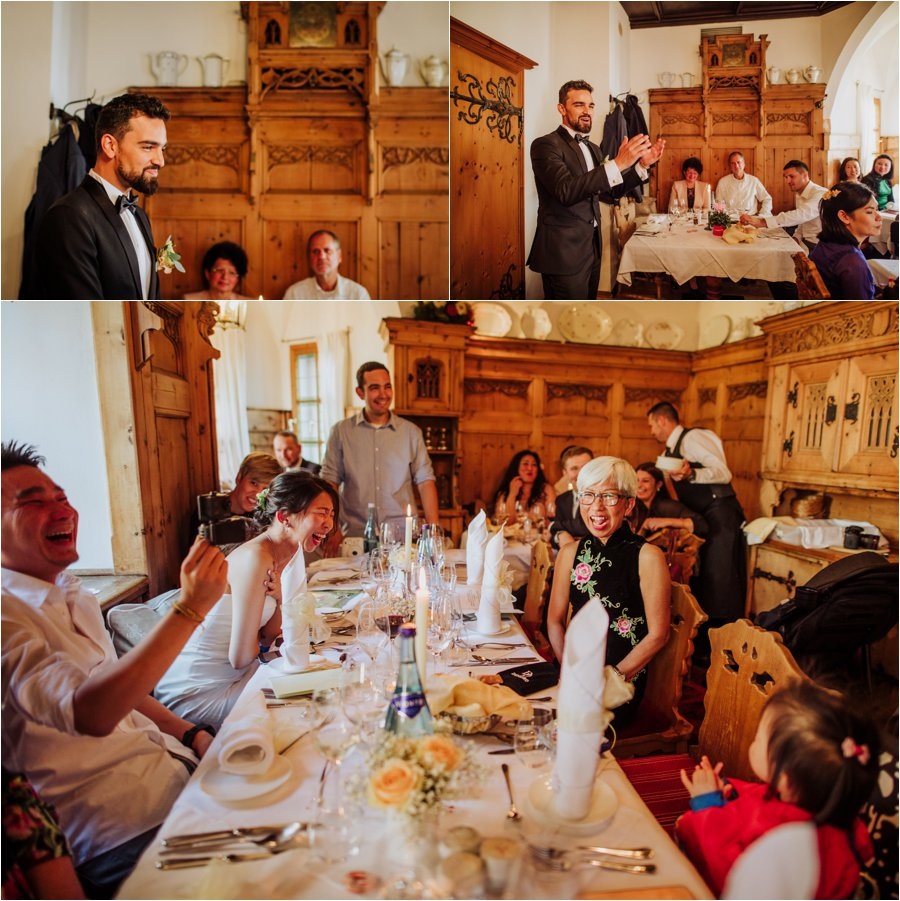 Arik the groom gives a speech before lunch is served by Wild Connections Photography