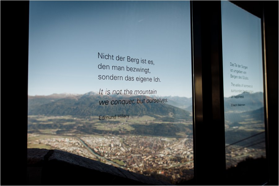 A mountain quote on the windows of the Seegrube building on the Nordkette by Wild Connections Photography