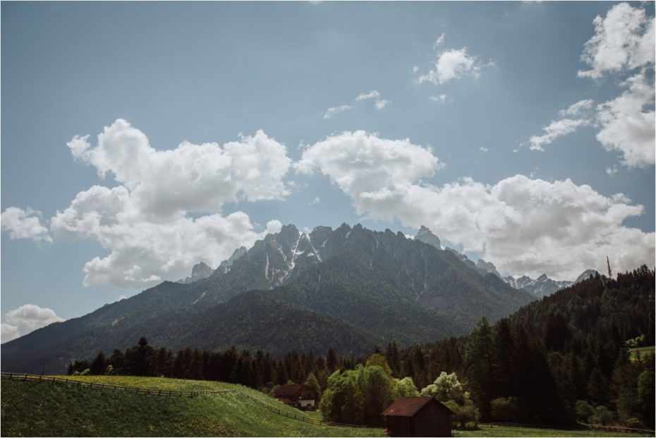 Landscape picture of green meadows and mountains in the Dolomites in Italy