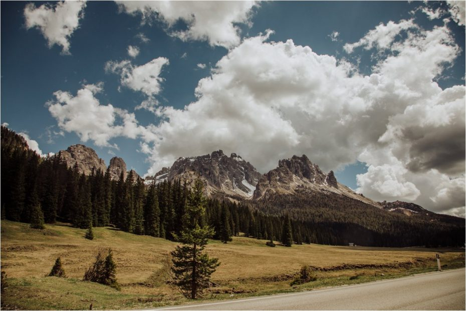 Road through the mountains in the Dolomites in Italy