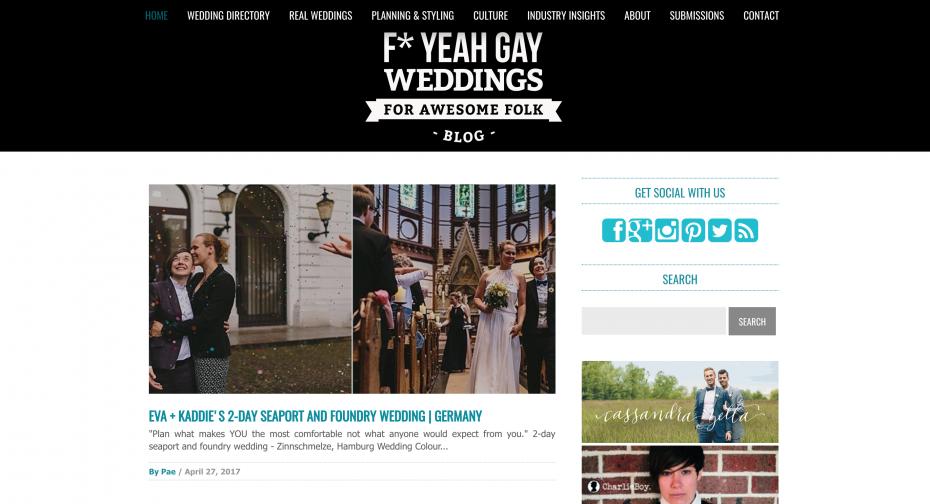 Screenshot of F* yeah gay weddings blog