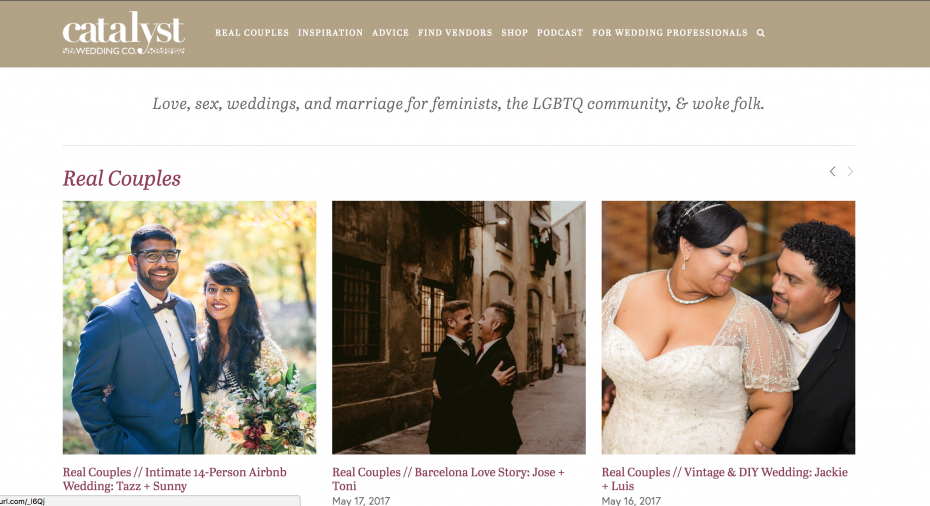 Screenshot of Catalyst wedding co alternative wedding blog