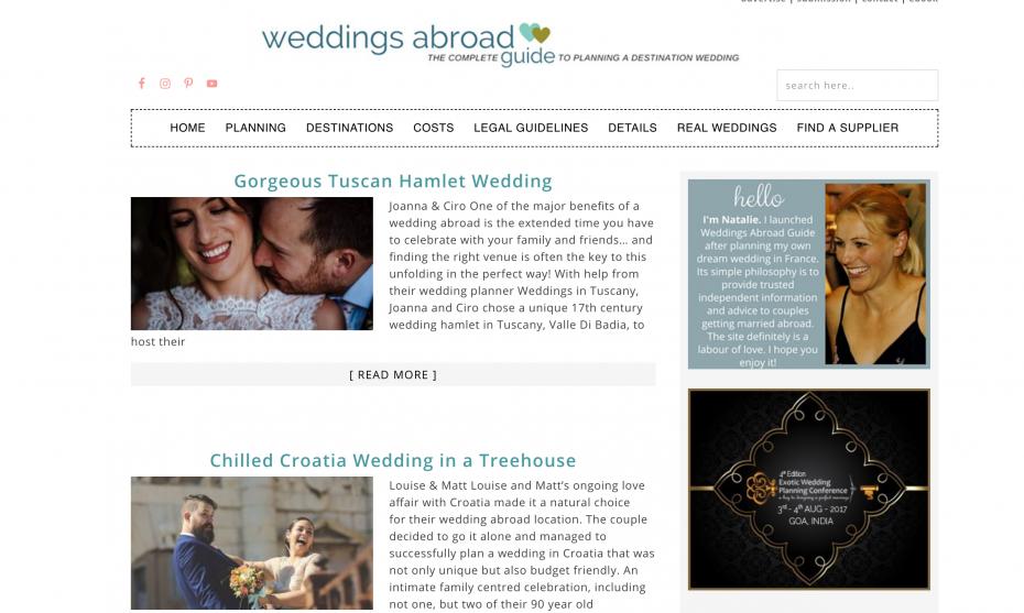 Screenshot of weddings abroad guide blog
