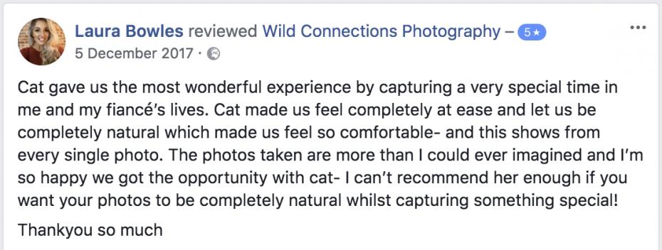 Wild Connections Photography suffolk wedding photographer testamonial