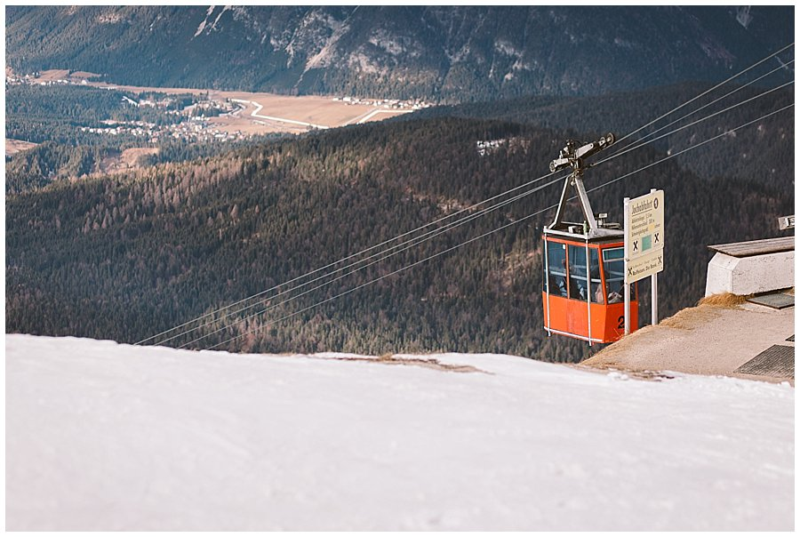 The bride arrives in the vintage ski lift