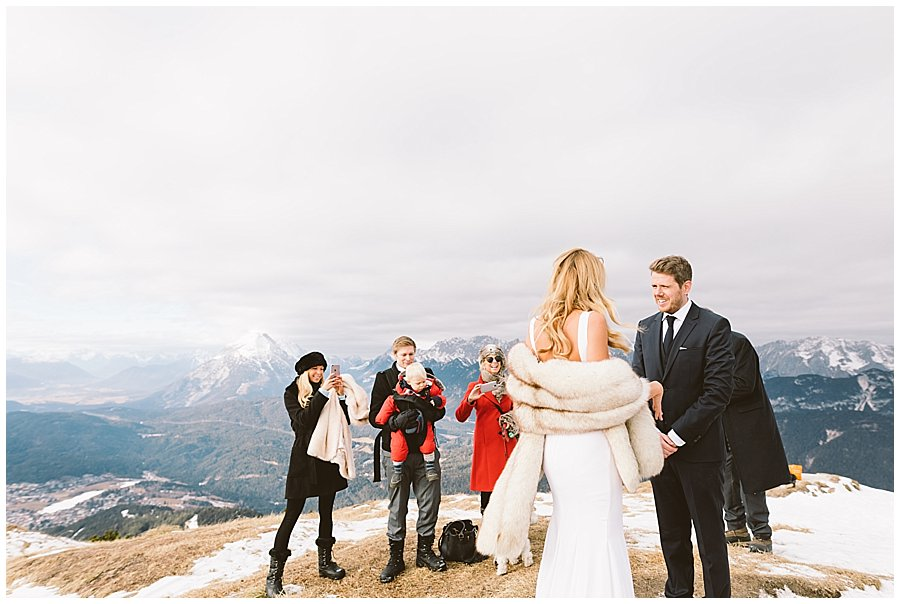 Lee and Steph meet at the top of the mountain for their vow ceremony