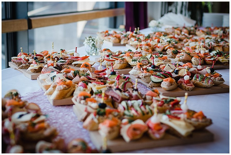Small canapes on a table for the guests to snack on