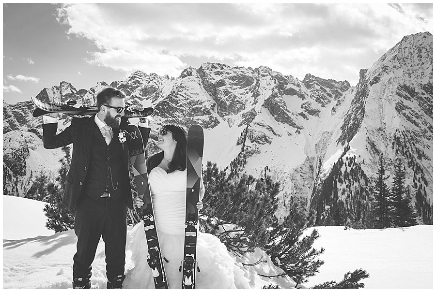 Skiing Wedding in the Alps
