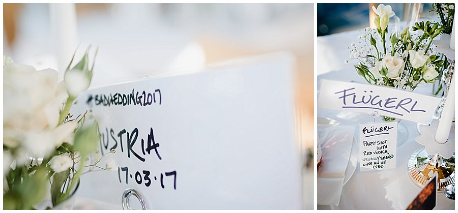 Wedding table names named after cocktails