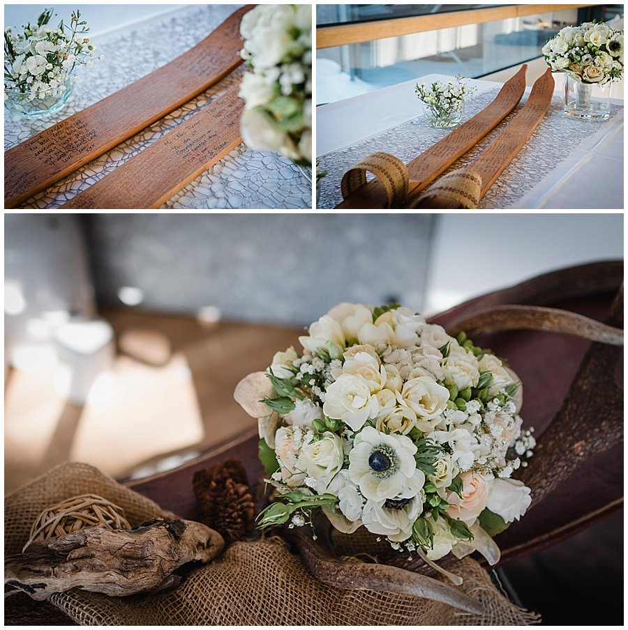 Alternative Wedding Guestbook Ideas - This bride and groom had guests sign a pair of vintage style wooden skis instead of a traditional guestbook.